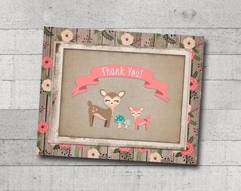 Baby Girl Shower Thank You Card Little Deer Woodland Animals Creatures Floral Rustic Wood Burlap Vintage Printable Digital File