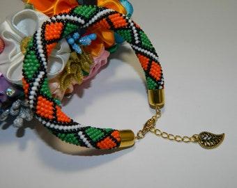 Beaded bracelet Roll on bracelet Beadwork bracelet Beaded crochet bracelet Seed bead bracelet Jewelry Gift gor her Handmade Ready to ship