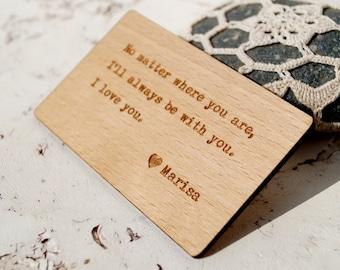 Wooden Wallet Insert Card, 5th Wood Anniversary Gift, Laser Engraved Wallet Insert, Custom Wallet Insert, Real Wood Wallet Card