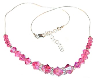 ROSE PINK Crystal Necklace Swarovski Elements Sterling Silver Handcrafted