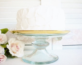 Art Deco Gold And Glass Cake Stand, Vintage 8 Inch, Wedding Cake Stand, Pedestal Cake Plate , Gold Anniversary