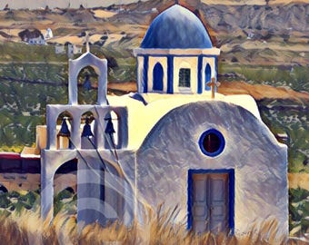 Original Photography of Beautiful Church in Akrotiri on Santorini Island, Greece