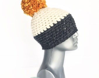 Gray and Cream Chunky Beanie with Gold Pom, Charcoal Crochet Hat, Cream and Yellow/Orange Winter Beanie With Puff, Pom Pom Knit Ski Hat