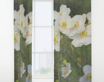 Romantic White Blossoms on a Green Background | Window Curtains | Rod Pocket Curtain Panel | Drapery Panel | Floral Print Custom Curtains