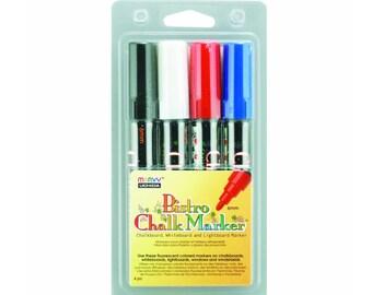 Uchida Color Liquid Chalk Marker Pen 4 Pack; 6mm Bullet Point Tip; Cafe Bistro Chalk Markers