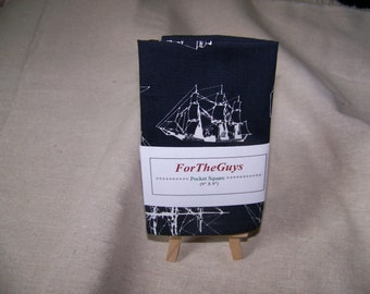 Ship Design Black and White Men's Pocket Square 9 X 9