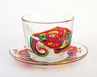 Tea Set Cup and Saucer Gift for Tea Lovers, Elephant Gift Tea Cup Glass, Teacher Gift