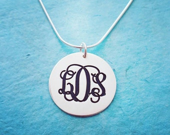 Silver Monogram Pendant / Monogram Necklace / Monogram on Tag / Custom Silver Monagram Necklace / Initial Necklace / My Name Necklace