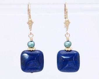 AA Lapis Lazuli earrings in Gold   Lapis earrings   Lapis Lazuli jewelry   Lapis Lazuli beads   Lapis Lazuli Silver   Lapis Lazuli stone