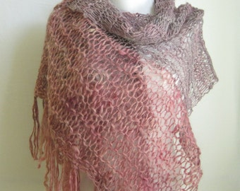 Lilac & Rose Loose Knit Scarf / Handspun Hand Knit Wool / Big Scarf / Fashion Scarf / Lavender Grey Raspberry Pink / Fringed Scarf