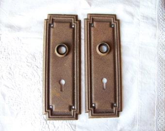 Antique Shabby Chic Door Plates (set Of 2)Antique Door Hardware.Door Knob