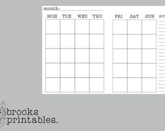 A6 RINGS MONDAY Start Monthly Insert | Printable Inserts
