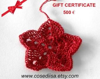 Valentine voucher, Gift Certificate, Last minute gift, Christmas gift, 500 Euro, gift card, custom made gift, knitting gift, crochet gift
