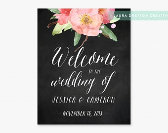 Welcome to the Wedding of Floral Chalkboard Sign - Personalized with Names and Date - Digital File - Print at Home