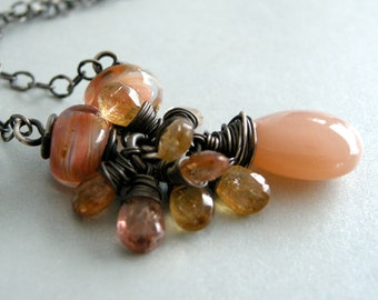 peach moonstone necklace, imperial topaz and moonstone necklace, glass lampwork beads with moonstone and imperial topaz