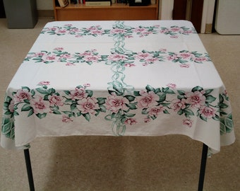 """Vintage 56"""" x 52"""" Linen Wine Rose On White Tablecloth  #52"""
