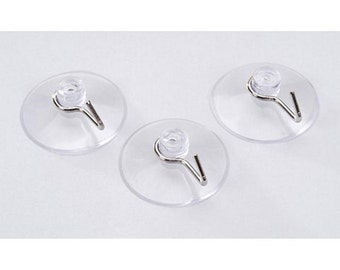 Clear Suction Cups with Silver Hooks - 42mm or 1.62in. In Diameter (Pack of 3) (dar105006)
