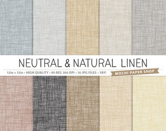 Natural Linen Digital Paper, Neutral Linen Backgrounds, Digital Linen Texture Card Making, Linen Digital Scrapbook Paper, Linen JPG Files