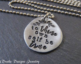 to thine own self be true inspirational Shakespeare necklace gift for women