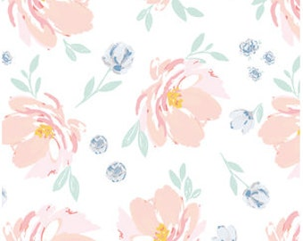 Fitted Crib Sheet - Floral Baby Bedding /Peony Crib Sheet /Bloom Alma Mini Crib /Hand Painted Changing Pad Covers /Babiease Baby Linens