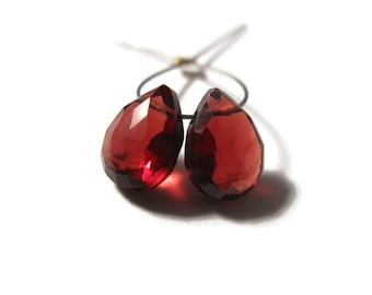 Two Large Natural Garnet Teardrop Beads, Matched Pair, Calibrated Faceted Red Gemstones for Making Jewelry, 9mm x 7mm (Pt-Ga4)