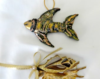 Steam punk fish and sliced shell ornament set_beach home decor