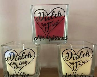 Diolch yn Fawr Thank You Nadolig Llawen Personalised Fragrane Candle