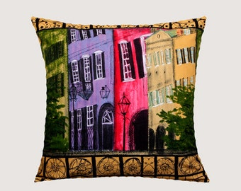 """Decorative Pillow Case, Multicolored Old City Patterned cotton Stephanie Brandenburg fabric Throw pillow case, fits 20"""" x 20"""" insert"""