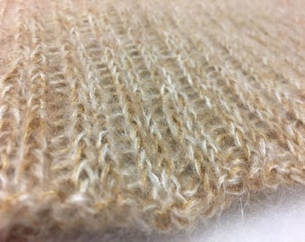 Blonde Mohair Infinity Scarf Cowl Reversible Quiltsy Handmade