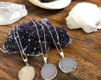 Dainty Druzy Necklace || Silver Dipped Druzy Necklace || Sterling Silver Necklace || Simply Druzy Necklace || Healing Crystal Necklace