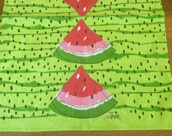 Vera Neumann WATERMELON Towel, Vivid Green Red Printed Cotton, Kitchen Tea Towel,  Summer Decorating