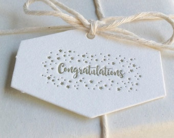 Set of 5 - Mini 'Congratulations' Letterpress Hexagonal Swing Tags
