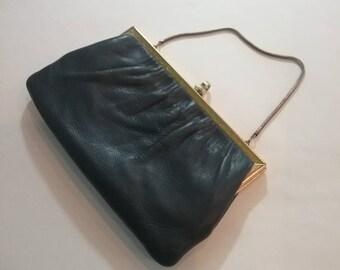 Vintage 60s blue pleather clutch evening bag - retro
