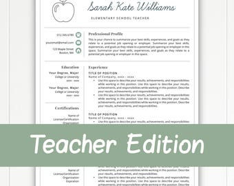 Teacher Resume Template For Word U0026 Pages, Teacher Template, Teacher CV,  Resume For