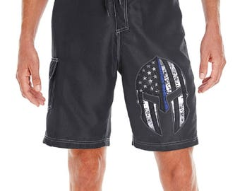 Thin Blue Line Spartan Helmet Warriors Bleed Blue™ Black Board Shorts SKU: BOARDWARRIOR