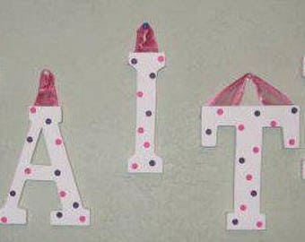 Wooden Letters with White with Pink and Purple Polka Dots
