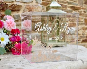 Personalized Wedding Card Box I Acrylic Card Box I Wedding Card Box with Lid |Wedding Money Box | Wedding Card Box | Wedding Card Holder