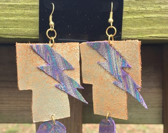 Leather lightning bolt dangle earrings