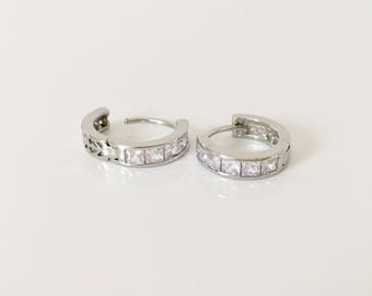 Silver Hoop Earrings, Cz Hoop Earrings, Huggie Earrings, Minimalist Jewelry