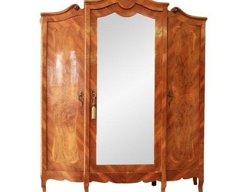 Merveilleux 1870u0027s Burled And Inlaid French Knockdown Wardrobe / Antique Armoire /  Mirrored Wardrobe