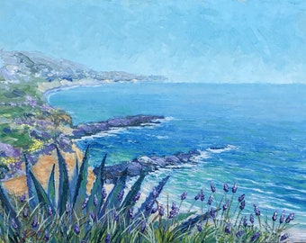 "South Laguna Beach - With Agabe Plants And Lavenders, an original oil painting by Yoko Collin, 10""x8""オリジナル風景油彩原画"