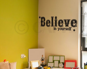 Believe in yourself vinyl lettering wall decal sticker quote words self-adhesive custom stickers