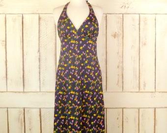 Vintage black floral halter top aline maxi dress/festival maxi dress/small/medium