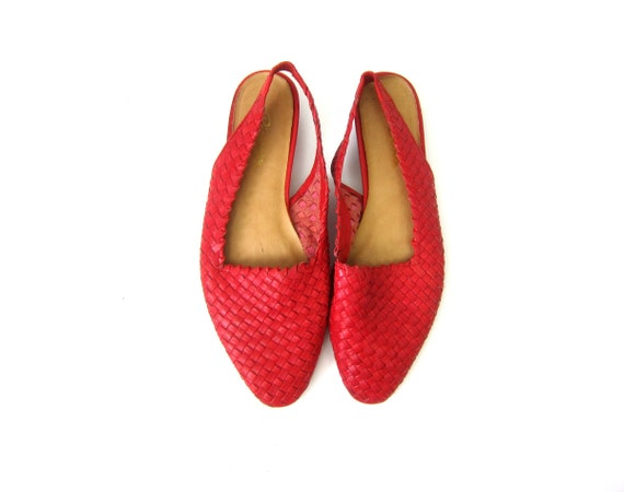 Braided Red Leather Sandals Closed Toe Huaraches Womens Beach Shoes Casual Vintage Summer Slip On Slingback Sandals Size 8.5