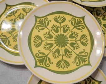 Vintage Royal China Round Dinner Plate Set of 8 Yellow Green Tulip Mandala Bohemian Retro Ironstone USA PanchosPorch