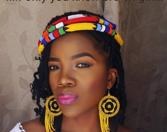 Zulu beaded earring and 3 headbands set that will bring out the African in you