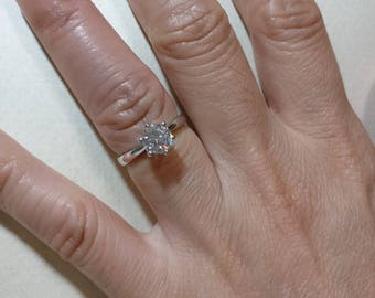 Private Listing - 1 carat  Moissanite Engagement ring 14k white gold and yellow gold