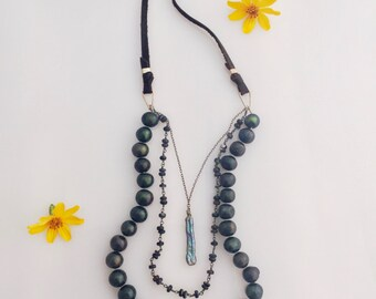 Black Pearl Beauty Statement Piece Bohemian Dark Necklace