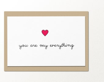 you are my everything // funny greeting cards // relationship card // love card // romantic card