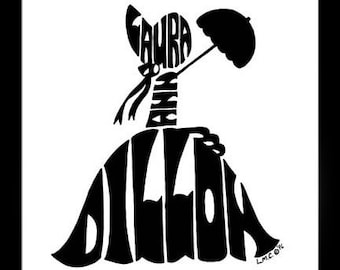 Personalized Silhouette Girl with Parisol